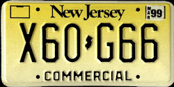 New Jersey Commercial Truck License Plate 1999