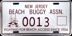 New Jersey Beach Buggy Association License Plate