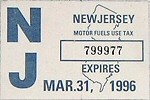 New Jersey Motor Fuels Use Tax Sticker