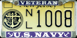 New Jersey Navy League License Plate
