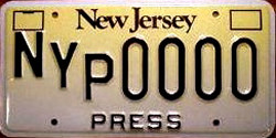 New Jersey New York Press NYP License Plate