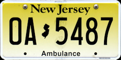 New Jersey Ambulance License Plate