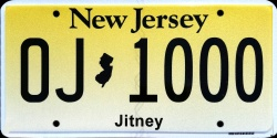New Jersey Jitney License Plate