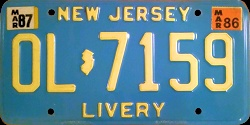 New Jersey Livery Taxi Limousine License Plate