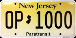 New Jersey Paratransit License Plate