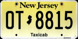 New Jersey Taxi Taxicab License Plate