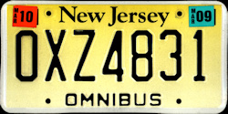 New Jersey Bus Omnibus License Plate