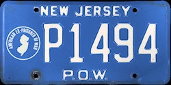 New Jersey EX POW Prisoner of War License Plate
