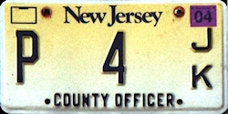 New Jersey County Officer License Plate