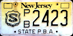 New Jersey State PBA License Plate