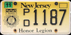 New Jersey Police Honor Legion License Plate