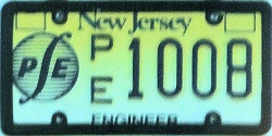 New Jersey Professional Engineer License Plate