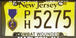 New Jersey Purple Heart Combat Wounded License Plate