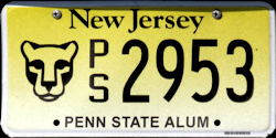 New Jersey Penn State University Alumni License Plate