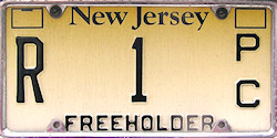 New Jersey County Government Freeholder License Plate