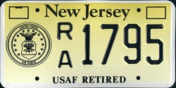 New Jersey US Air Force Retired License Plate