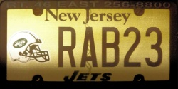 New Jersey Sports License Plate JETS
