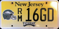 New Jersey Sports License Plate EAGLES