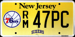 New Jersey Sports License Plate 76ERS
