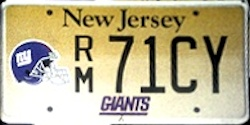 New Jersey Sports License Plate GIANTS