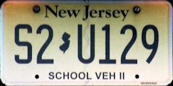 New Jersey School Bus Vehicle II License Plate