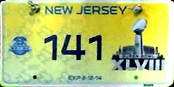 New Jersey Superbowl XLVIII License Plate
