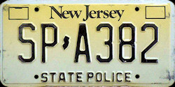 New Jersey State Police License Plate