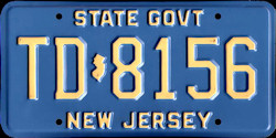 New Jersey Transportation Department State Government License Plate