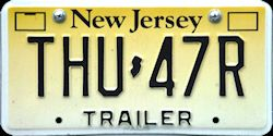New Jersey Trailer License Plate 2010