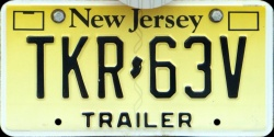 New Jersey Trailer License Plate 2011