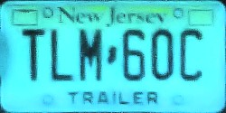 New Jersey Trailer License Plate 2012