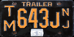 New Jersey Trailer License Plate 1959