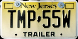 New Jersey Trailer License Plate 2013