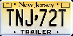 New Jersey Trailer License Plate 2014