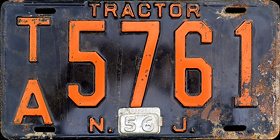 New Jersey Tractor License Plate 1956