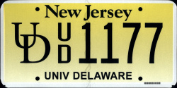 New Jersey University of Delaware License Plate