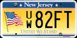 New Jersey United We Stand License Plate