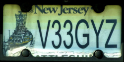 New Jersey Fake License Plate Battleship NJ
