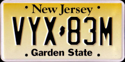 New Jersey License Plate 2007