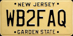 New Jersey Amateur Ham Radio License Plate