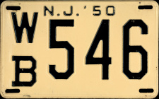New Jersey License Plate 1950