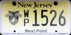 New Jersey West Point Military Academy License Plate