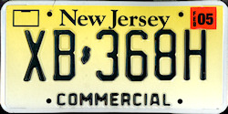 New Jersey Commercial Truck License Plate 2005