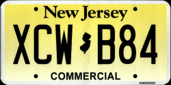 New Jersey Commercial Truck License Plate 2015