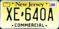 New Jersey Commercial Truck License Plate 2006