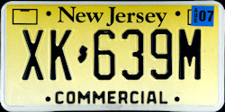 New Jersey Commercial Truck License Plate 2007