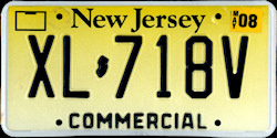 New Jersey Commercial Truck License Plate 2008