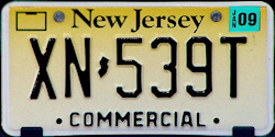 New Jersey Commercial Truck License Plate 2009