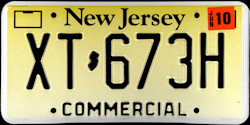 New Jersey Commercial Truck License Plate 2010