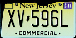 New Jersey Commercial Truck License Plate 2011
